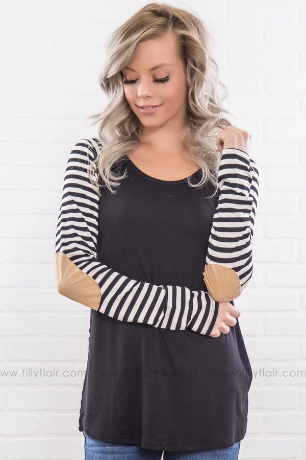 Whatever It Takes Striped Elbow Patch Top In Black White