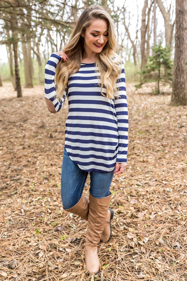*Just For You Striped Elbow Patch Top in Navy and White* - Filly Flair