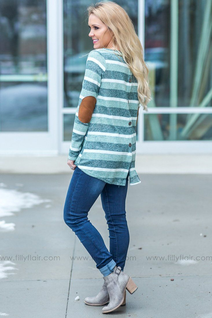 Days Like These Striped Button Detail Top In Green