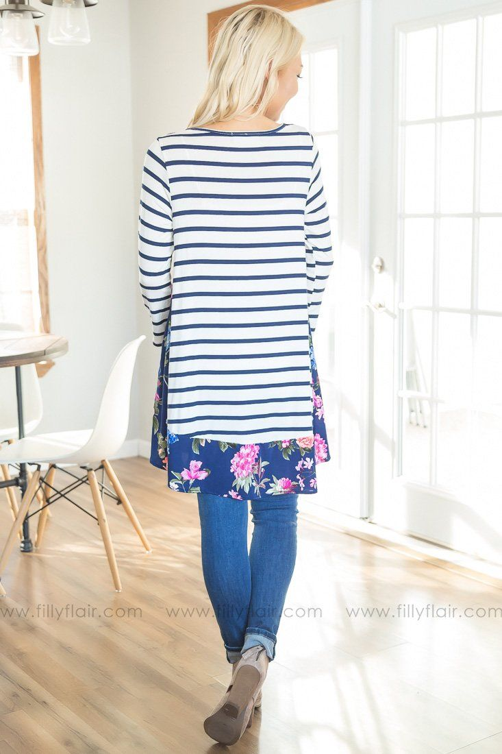 Born This Way Striped Floral Tunic In Navy Pink