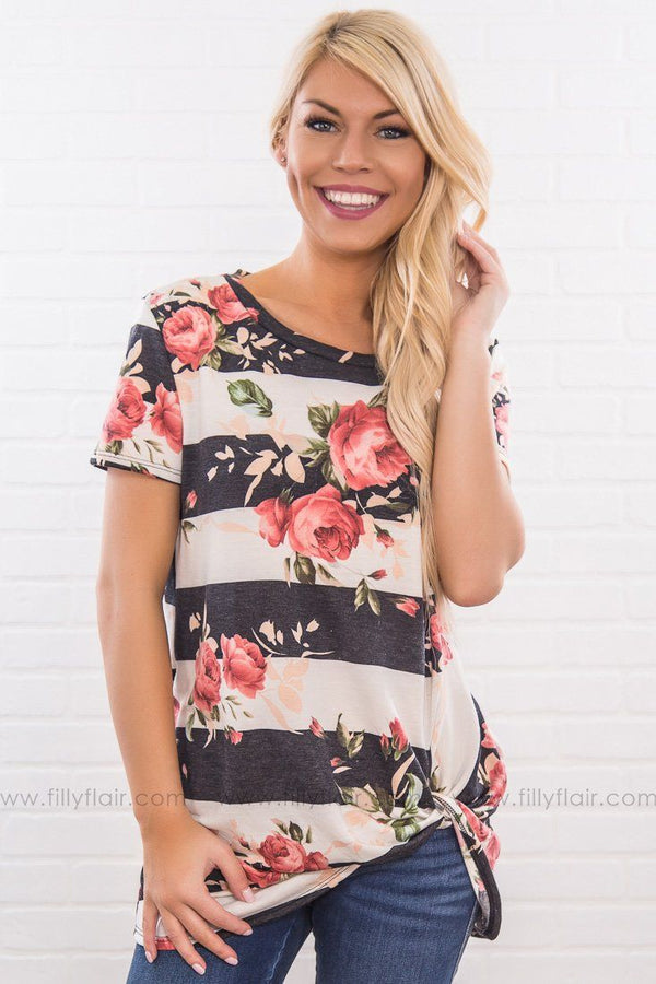 All Of Me Striped Floral Knotted Top In Charcoal