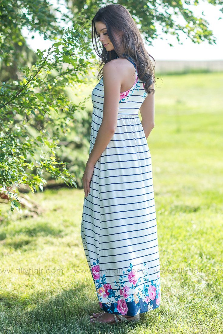 Take It From Me Striped Floral Maxi Dress In Navy - Filly Flair