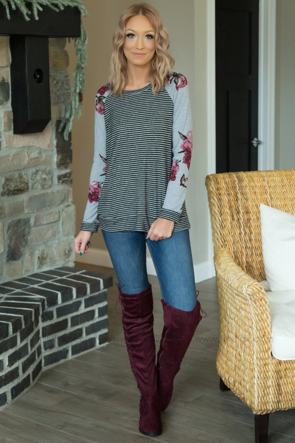 Change My Mind Striped Floral Top In Grey - Filly Flair