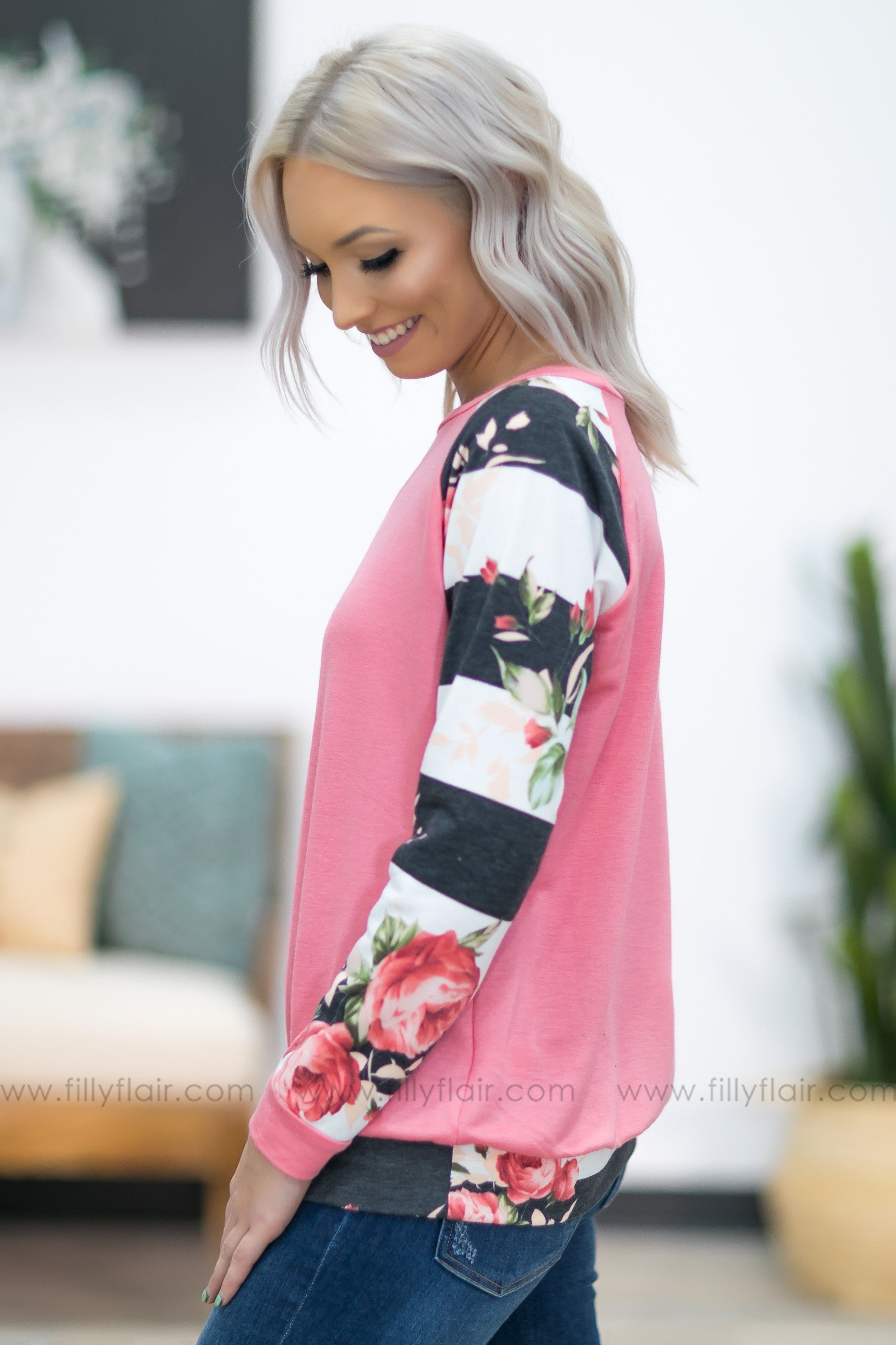 Say It To Me Striped Floral Long Sleeve Top in Pink - Filly Flair