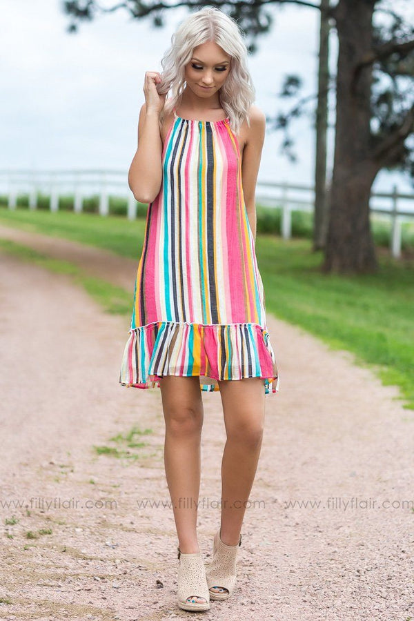 Take It Home Striped Ruffle Multi-Colored Dress - Filly Flair