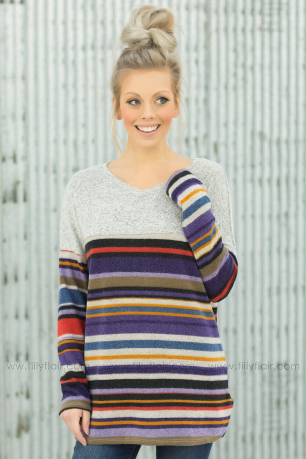 Better In Time Long Sleeve Multi-Colored Striped Top in Heather Grey - Filly Flair