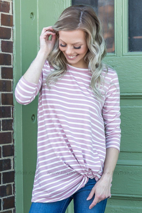 Stay Away 3/4 Sleeve Striped Knotted Top In Mauve