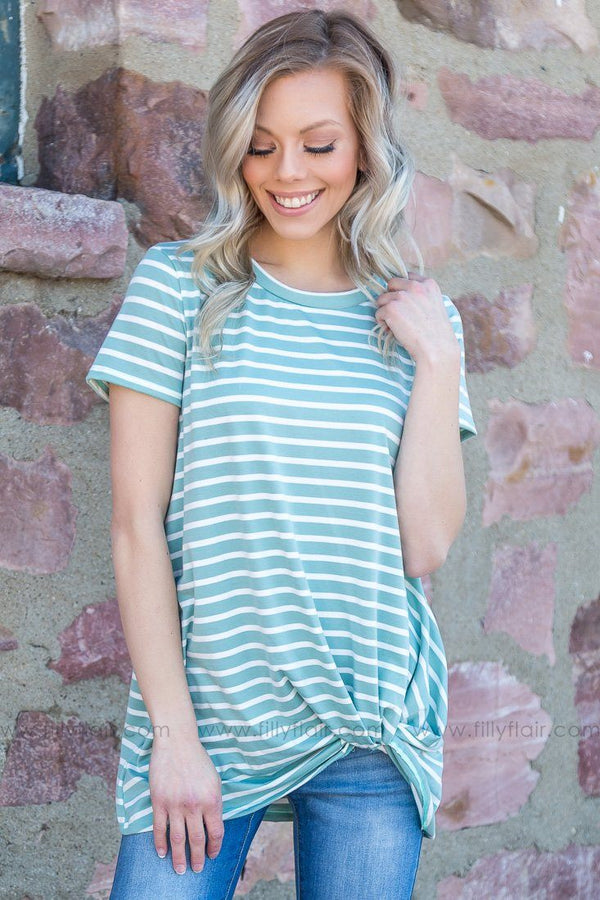 Gonna Be Alright Striped Knotted Top In Spring Teal