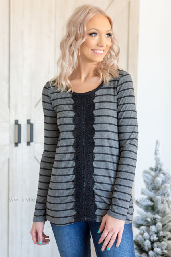 Every Detail Long Sleeve Striped Lace Front Top In Black Charcoal - Filly Flair