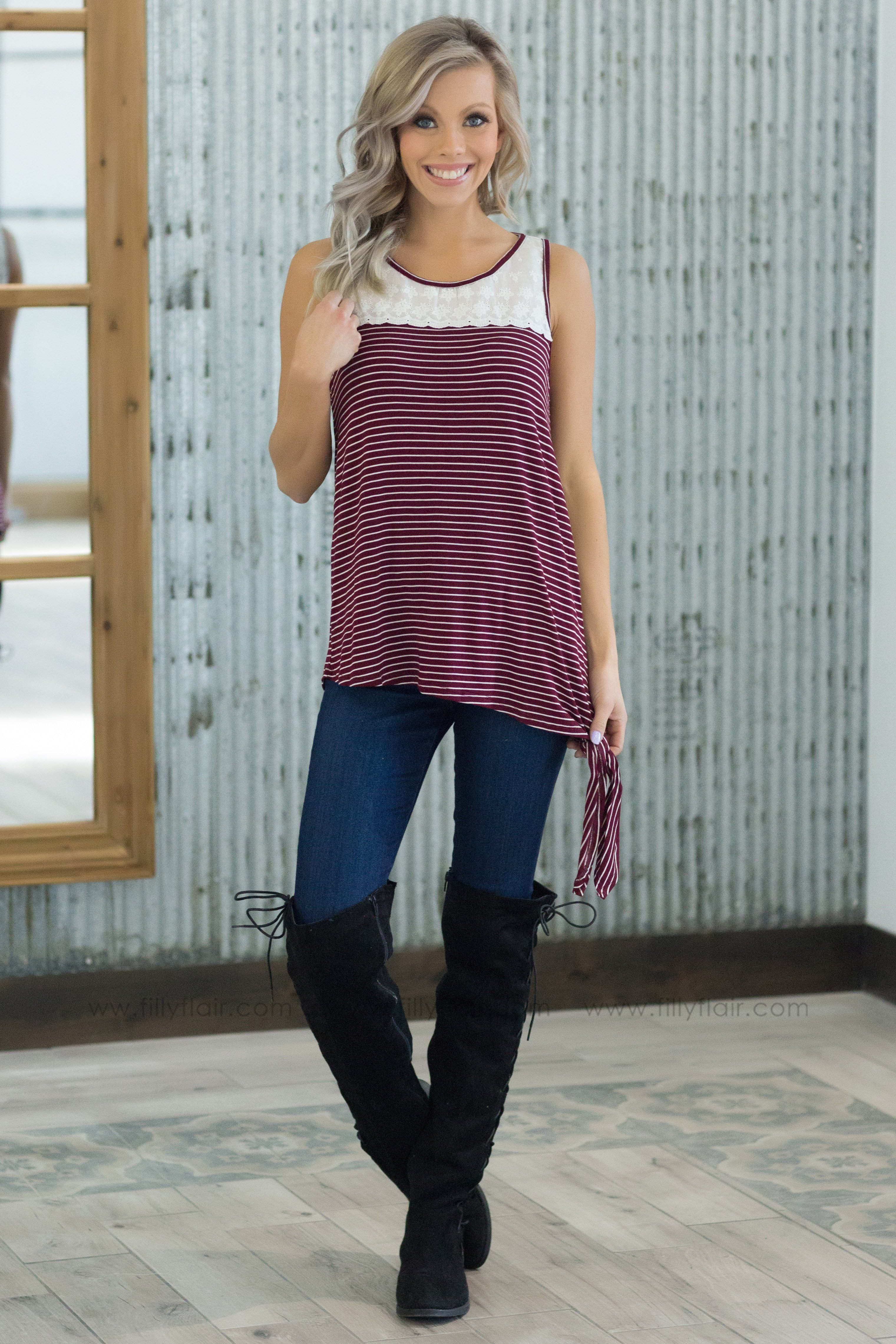 I Need To Know Striped Lace Tie Tank Top in Burgundy - Filly Flair