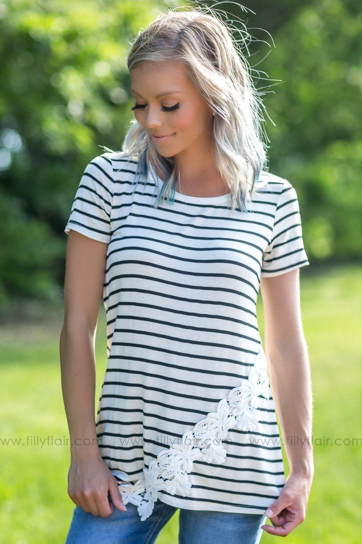 Take Me By The Hand Striped Lace Top In Black Ivory - Filly Flair
