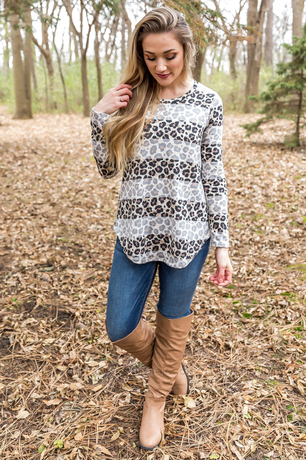 Wild Times Long Sleeve Striped Leopard Top - Filly Flair