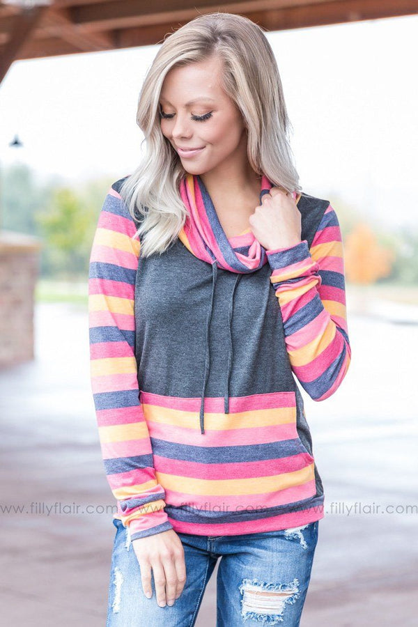 Take Me The Long Way Around Striped Cowl Neck Top in Charcoal - Filly Flair