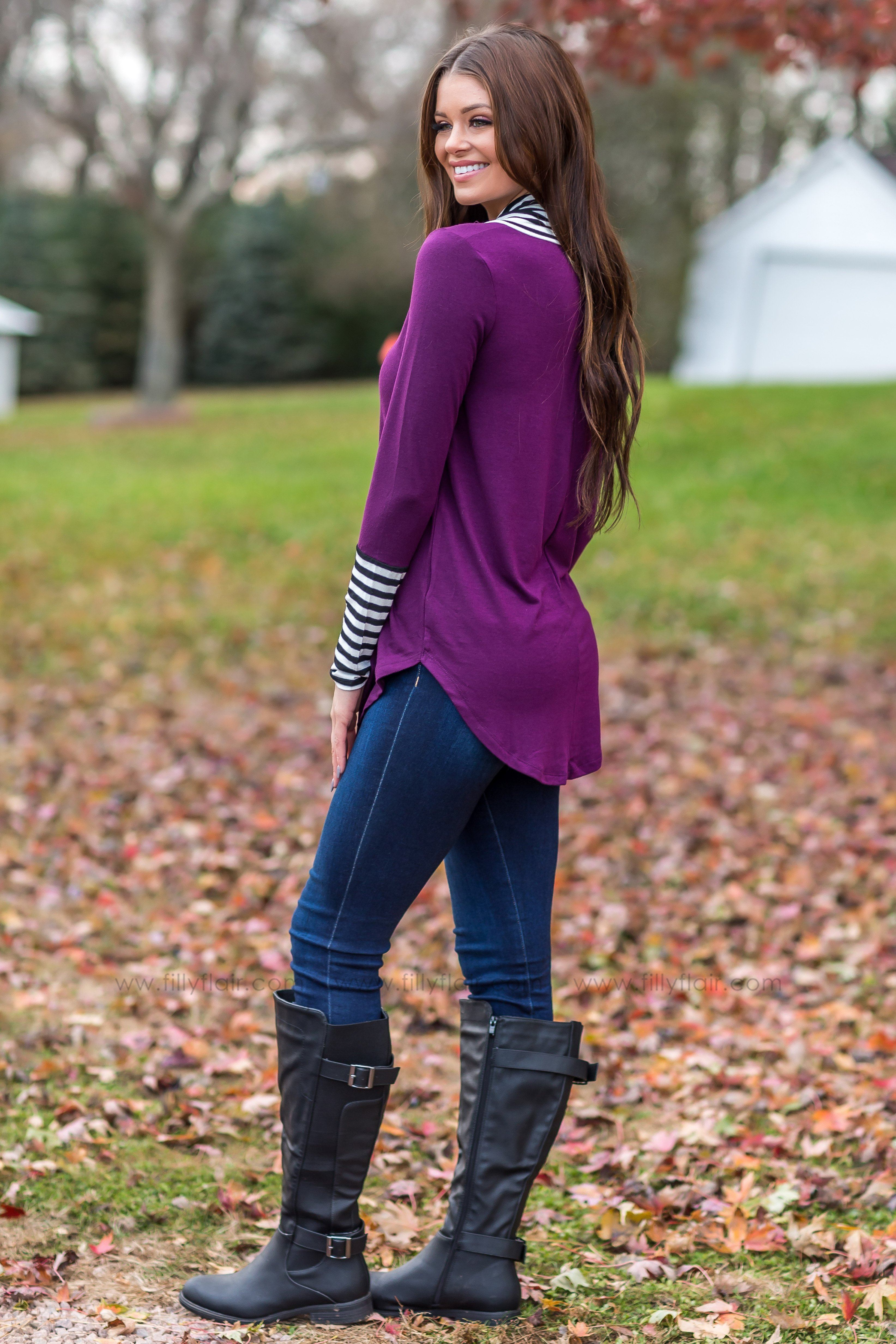 Forever A Favorite Striped Cowl Neck Long Sleeve Top in Plum - Filly Flair