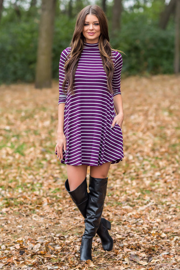 It Starts Now 3/4 Sleeve Striped Dress In Plum - Filly Flair