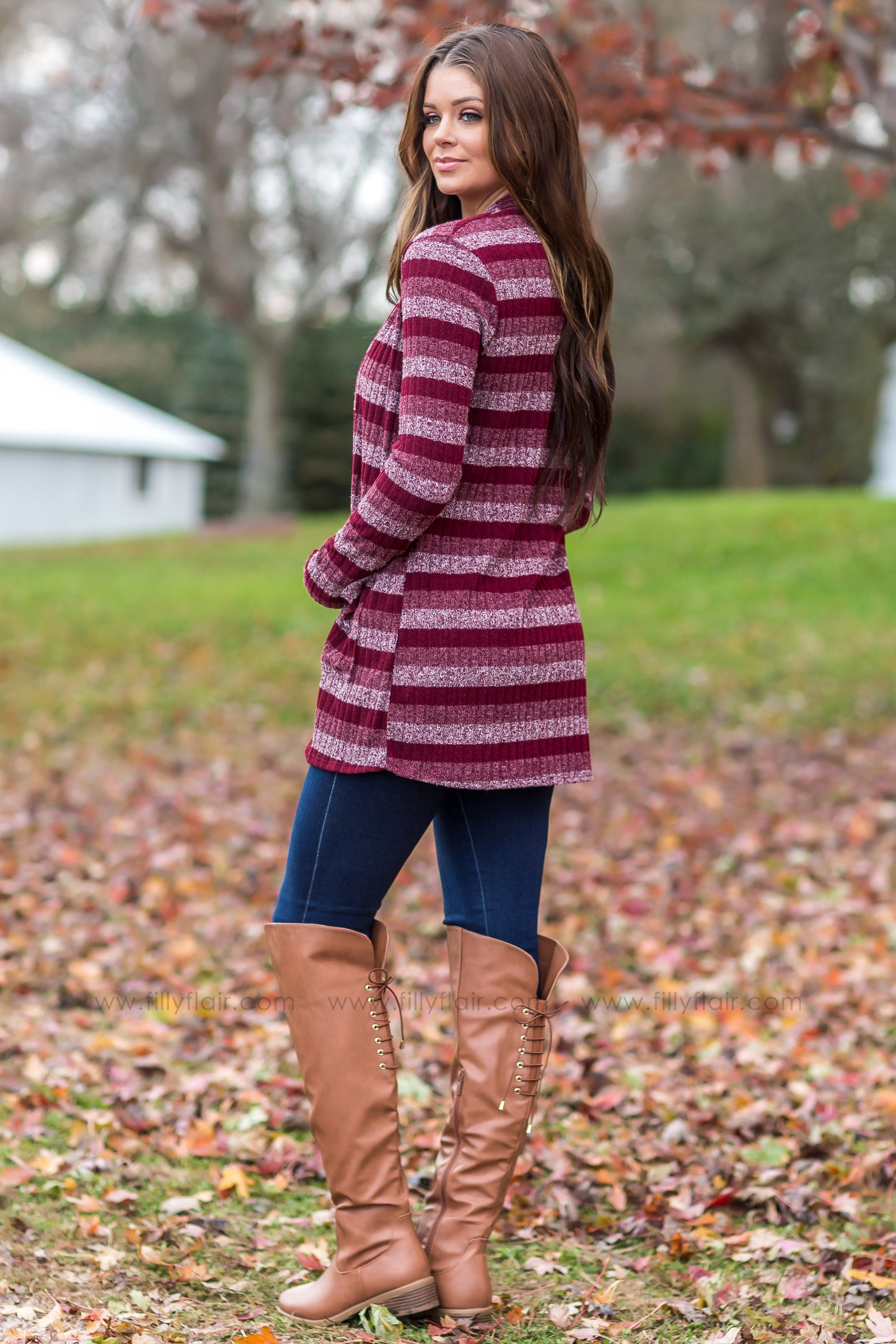 That Everyday Feeling Striped Open Cardigan in Burgundy - Filly Flair