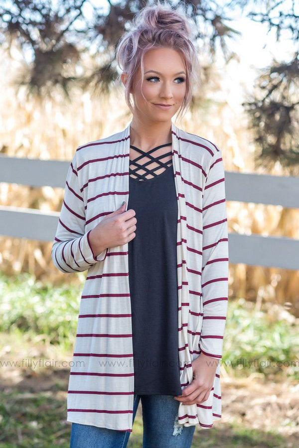 Keeping It Simple Striped Cardigan in Burgundy Ivory - Filly Flair