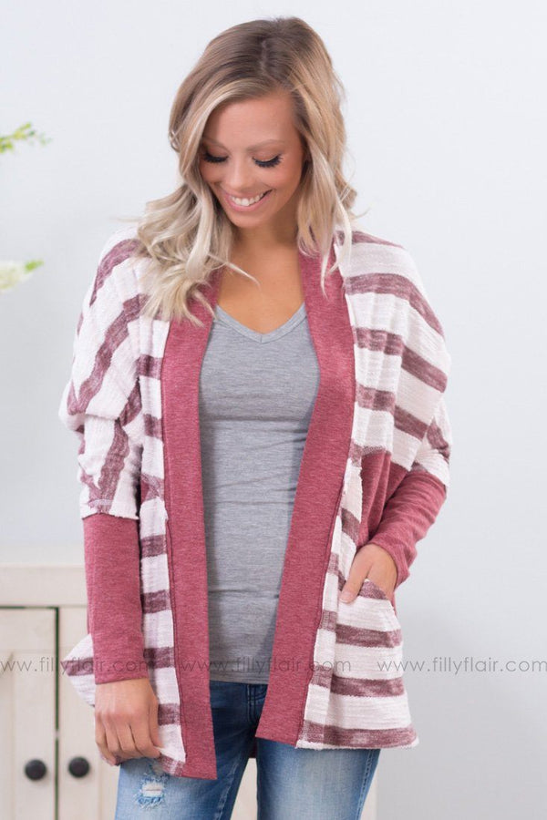 A New Start Striped Dolman Cardigan in Heathered Burgundy - Filly Flair