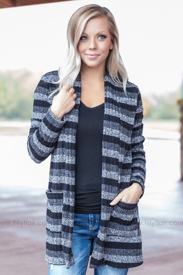 That Everyday Feeling Striped Cardigan in Black - Filly Flair