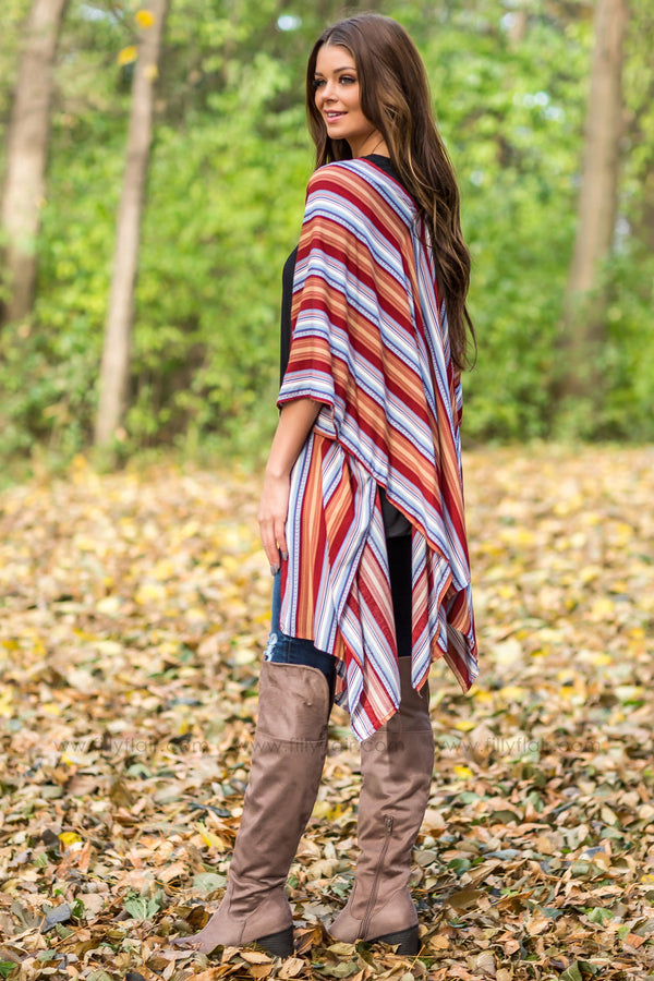 On The Move Striped Kimono In Burgundy - Filly Flair