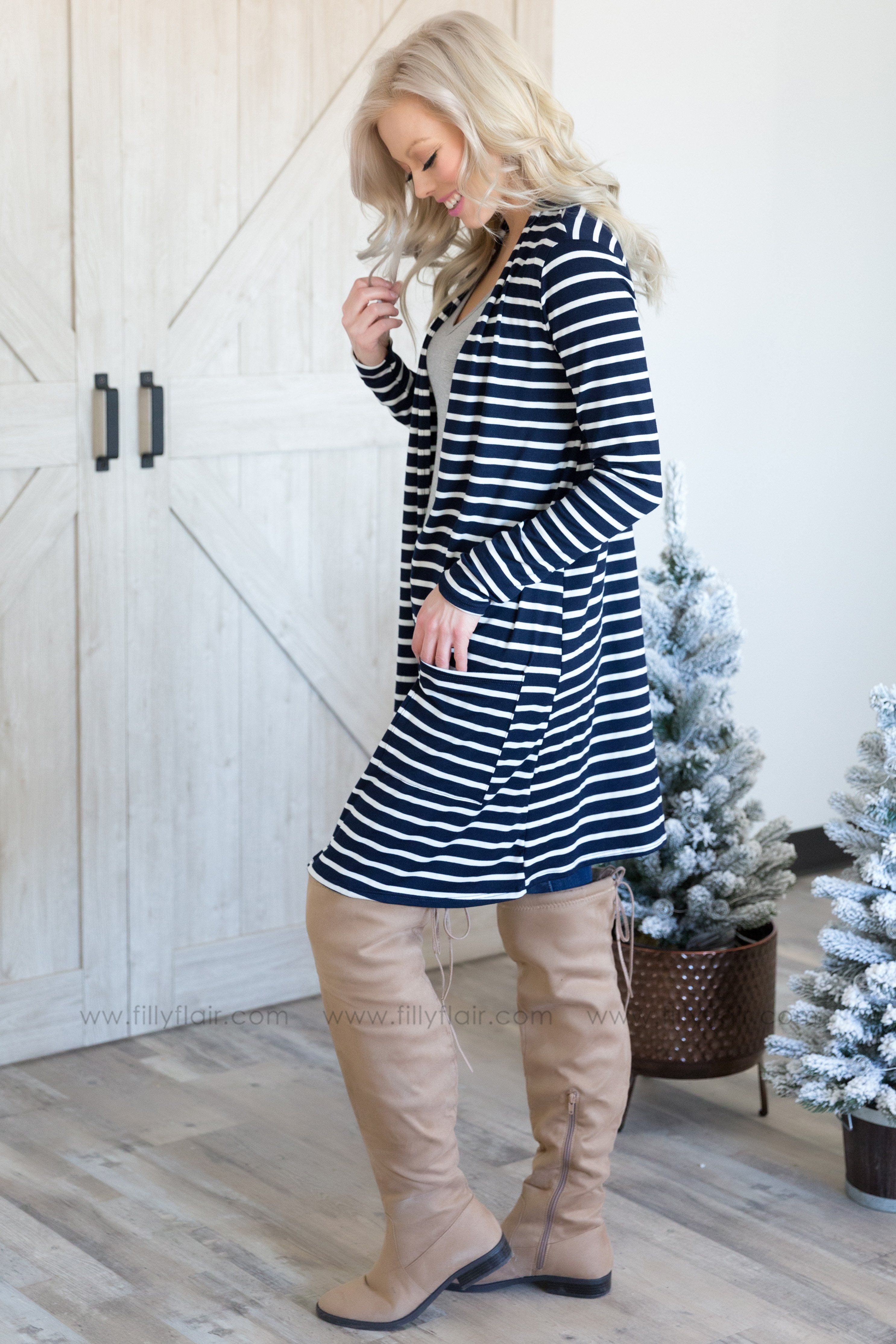 Baby Do I Long Sleeve White Striped Open Pocket Cardigan in Navy - Filly Flair