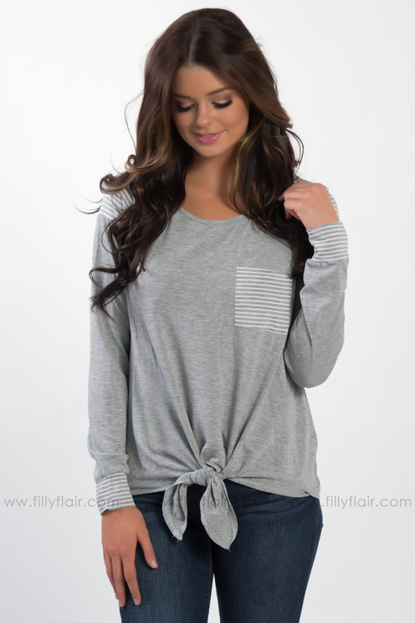 Time Will Tell Long Sleeve Striped Pocket Tie Top in Grey - Filly Flair