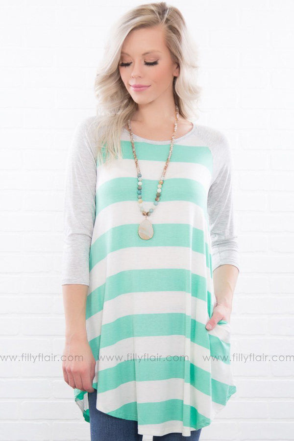 Live Stronger Striped Pocket Tunic In Mint