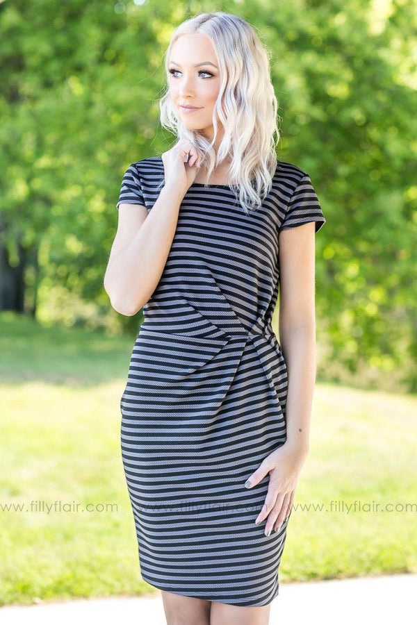 Show Up Grey and Black Striped Dress - Filly Flair