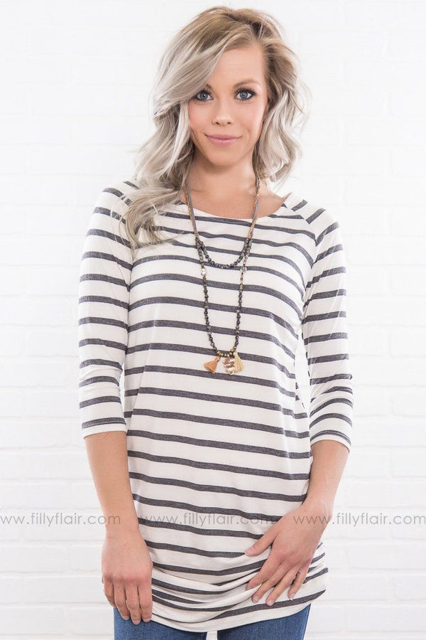 Wild Imagination Striped Ruched Tunic In Charcoal White