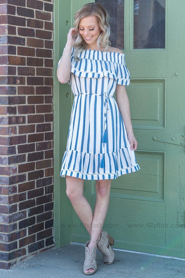 Need To Be The One Striped Off the Shoulder Tie Dress In Blue