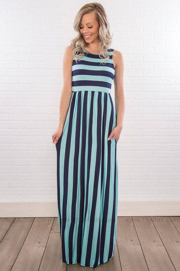 Coral and gray striped maxi dress