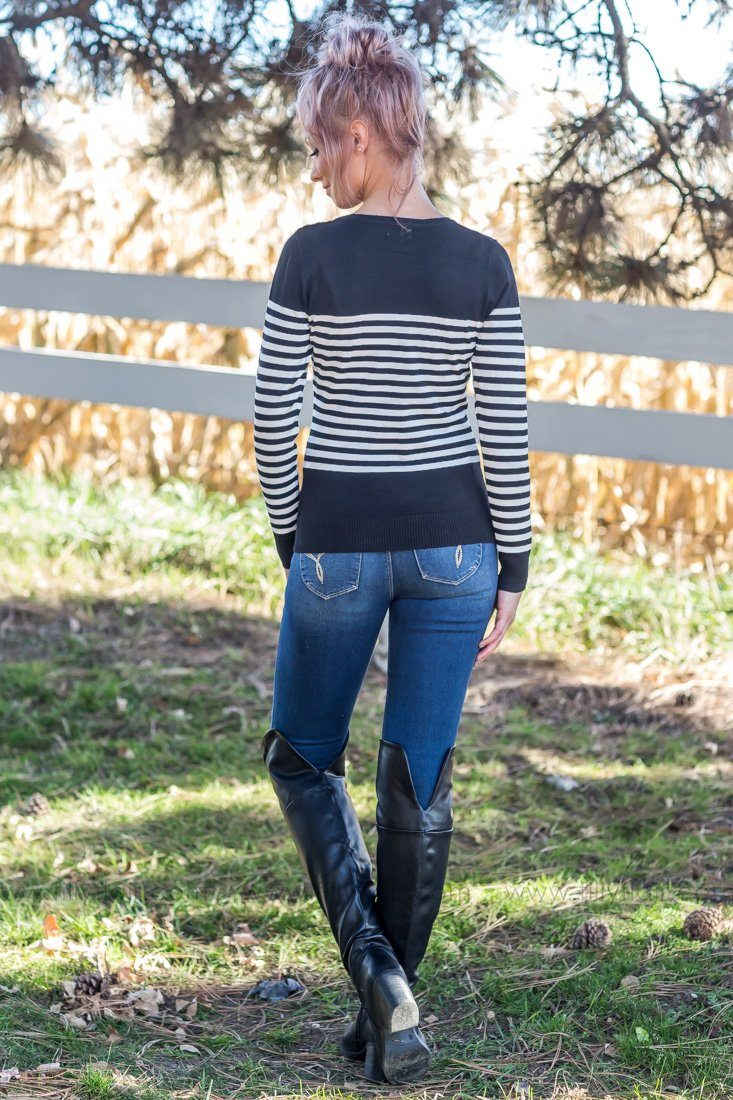 On My Way Striped Sweater In Black - Filly Flair