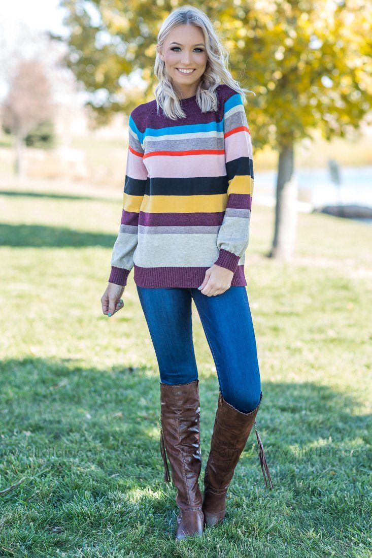 Take Me With You Multi-Color Striped Sweater - Filly Flair