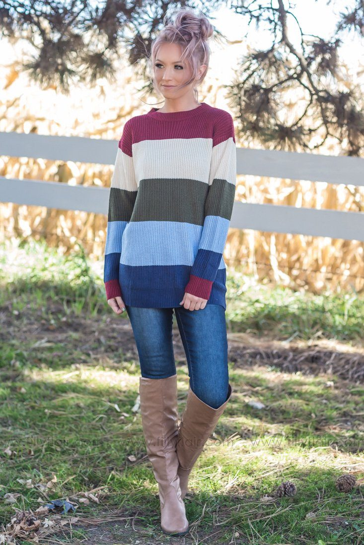 Take Your Time Striped Sweater in Burgundy Olive Navy - Filly Flair