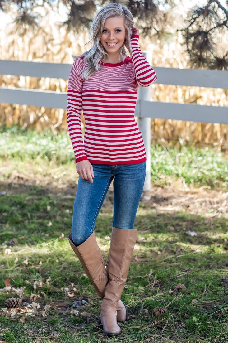 On My Way Striped Sweater In Red - Filly Flair