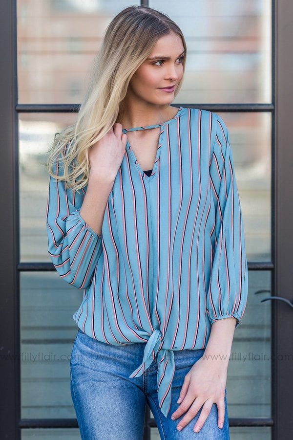 Like I'm Leaving Striped Tie Front Blouse In Slate Blue