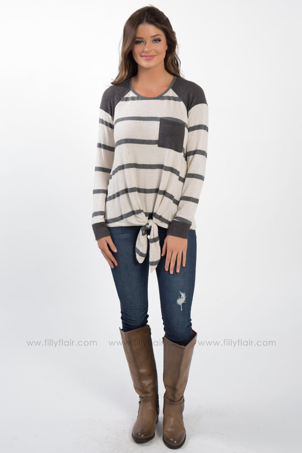 The Same Beliefs Long Sleeve Pocket Tie Top In Charcoal - Filly Flair