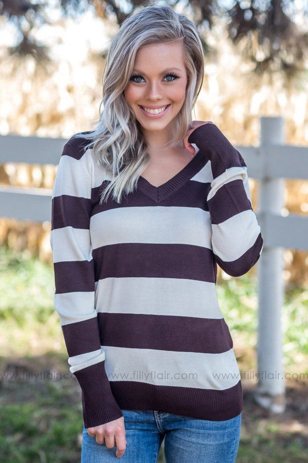 So Far Gone Striped Long Sleeve Sweater in Brown - Filly Flair