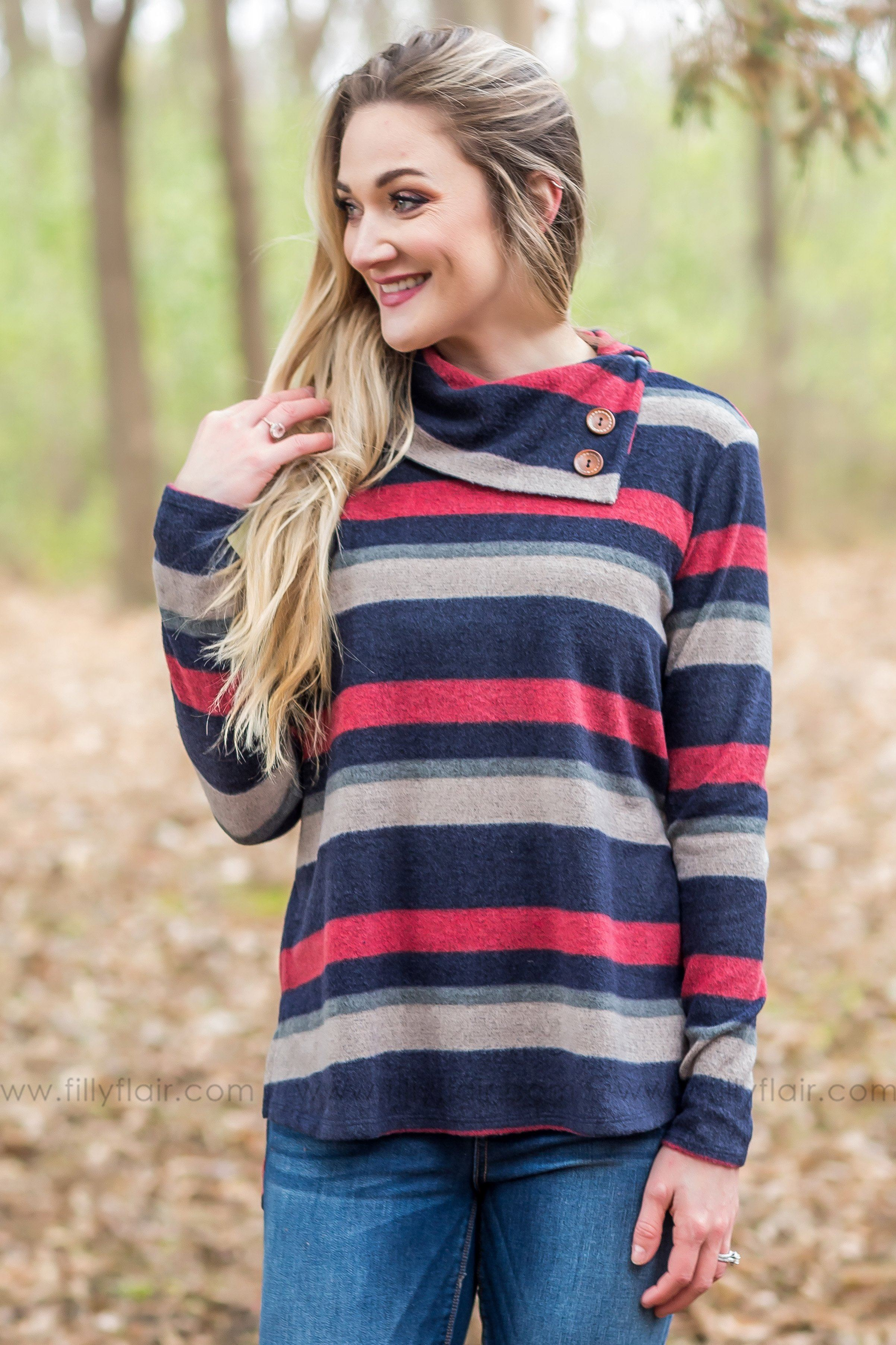 Beautiful Memories Striped Cowl Neck Button Detail Top In Navy - Filly Flair
