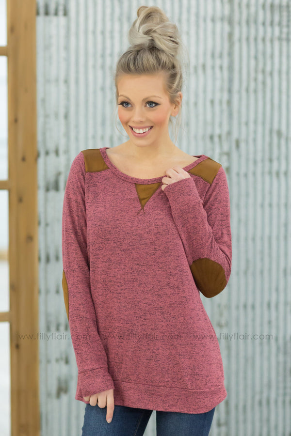 I'll Go With You Long Sleeve Suede Detail Top in Rose Pink* - Filly Flair