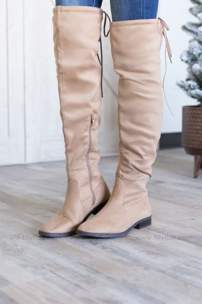 A New Direction Tall Suede Boots in Taupe - Filly Flair