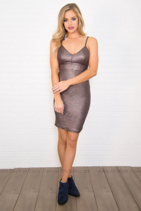 A Sparkling Toast Body Con Mini in Metallic