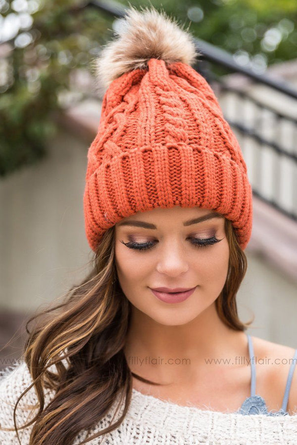Cable Knit Pom Pom Beanie In Rust - Filly Flair