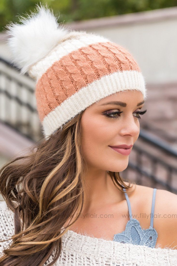 Soft Knit White Pom Pom Color Block Beanie In Rust Khaki - Filly Flair