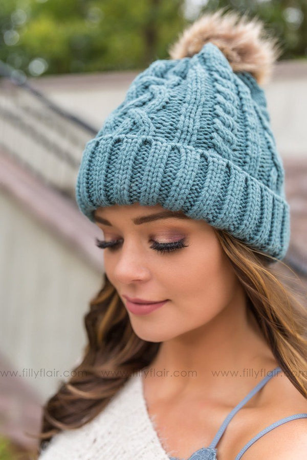 *090318 Cable Knit Pom Pom Beanie In Teal - Filly Flair