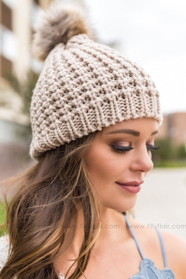 Chunky Cable Knit Pom Pom Beanie In Mocha - Filly Flair