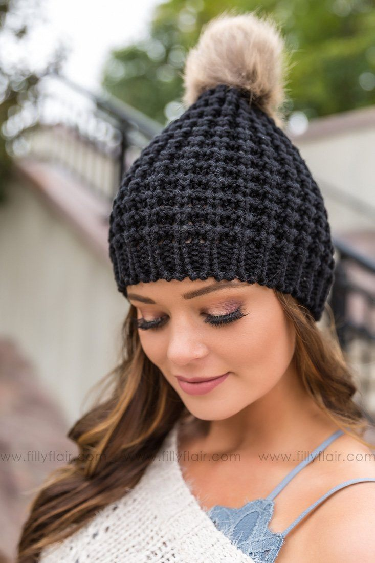 Chunky Cable Knit Pom Pom Beanie In Black - Filly Flair