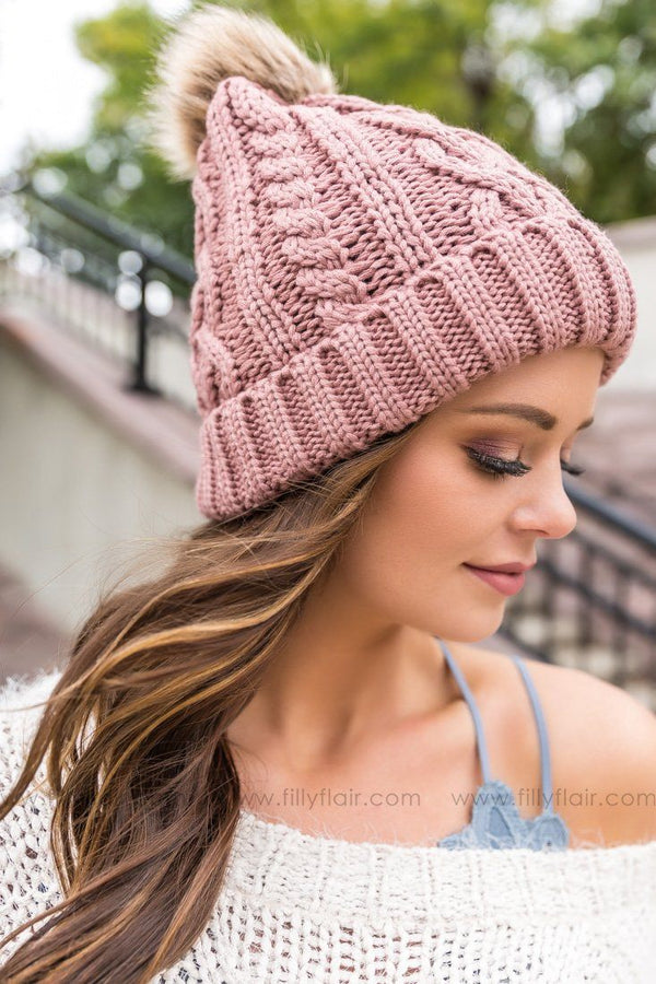Cable Knit Pom Pom Beanie In Mauve - Filly Flair