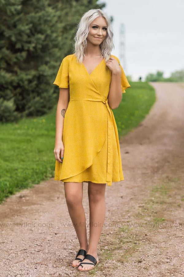 Start Me Up Polka Dot Short Sleeve Wrap Dress in Mustard