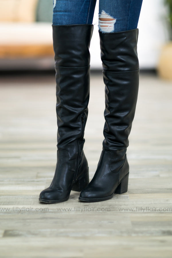 Take A Back Seat Tall Open Calf Boots In Black - Filly Flair